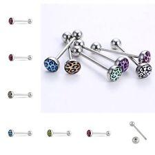 Creative Body Piercing Tongue Bar Ring Leopard Grain Jewelry Barbell Bar 6PCS