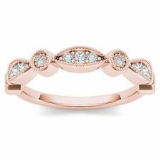 Solid 10K Rose Gold 0.10 Ct Round Cut Diamond Wedding Band