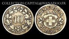 10 Rappen 1850 BB Suisse. Billon. La 1° de la série