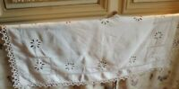 Vintage French Hand Embroidered Whitework Lace Linen Shelf Cover Runner