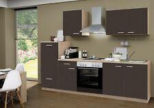 Küchenblock mit Elektrogeräten und Spüle Classic 270cm breit in lava matt