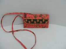 MaggiB Crossbody Wallet Purse Green Pink Floral Long Strap Quilted Folding