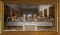 da Vinci The last Supper Wood Framed Canvas Print Repro 19x35