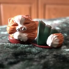 Hallmark Merry Miniatures 1988 Christmas Cat Sleeping In Slipper