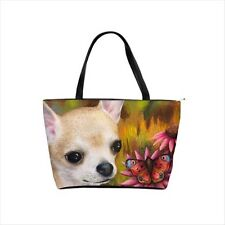 Classic Shoulder Handbag Purse Bag Dog 85 Chihuahua art painting L.Dumas