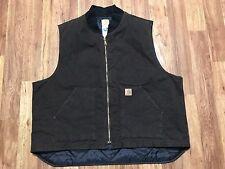 Mens Carhartt V02 Sandstone Arctic Quilt Lined Rancher Work Vest 3XL Dark Brown