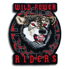 Wild Power Rider Lone Wolf Head Patch Embroidered Iron on Harley Tattoo Biker