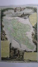 Carte géographique Levasseur - Charente Maritime -1854 - entièrement en couleur