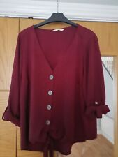 Burgundy Shirt Knot Front Size 14