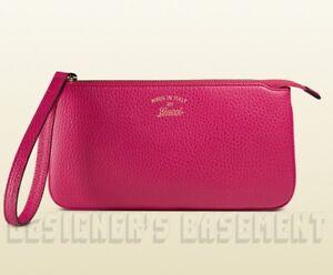 GUCCI magenta SWING Leather gold Trademark wallet WRISTLET Purse NIB Authen $520