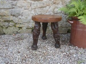 Wooden Stool, Vintage vine stem legs, French, Bedside Table, plant stand,wine