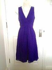 Coast Purple Blue Silk Fit & Flare Cocktail Party Prom Evening Dress Size 10