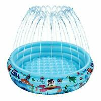 Paddling Pool - Sprinkler Pool with Inflatable Soft Floor for Kids