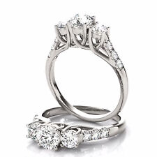 Natural 2.10 Ct Diamond Engagement Ring Real 14K White Gold Round Cut Size 6 7