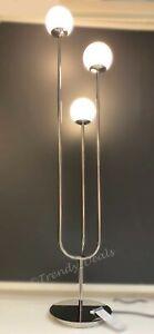 "Ikea SIMRISHAMN Floor Lamp Modern Steel Chrome Plated/Opal Glass 62"" - NEW"