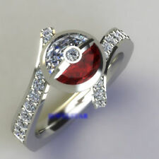 White & Red Stone in 18K White Gold Incredible Pokemon Wedding Engagement Ring