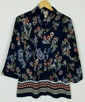 Chico's Women's 1 (Medium) Navy Floral Border Print 3/4 Sleeve Button Up Top