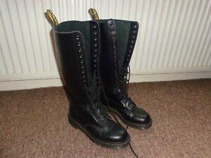 Dr Doc MARTENS 20 eye hole BLACK knee high boots england vintage 1420 UK 6