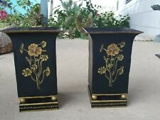 2 Vintage toleware Style 10 inch metal planters Vase classic style. Real Nice