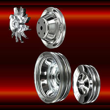 4 pulley set Small Block Chevy LWP with a/c and press on power steering chrome