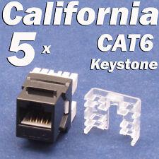 5 Pcs Lot CAT6 Keystone 8P8C RJ45 Network 110 Style Socket Punch Down Jack Black