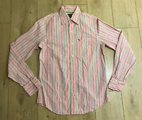 Abercrombie & Fitch Men's Shirt Pink Striped Long Sleeve Small 100% Cotton