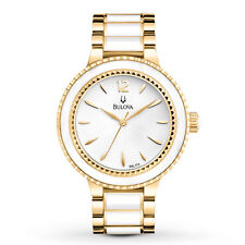 Bulova Women's White Dial Ceramic Gold Two-Tone Bracelet 39.5mm Watch 98L173