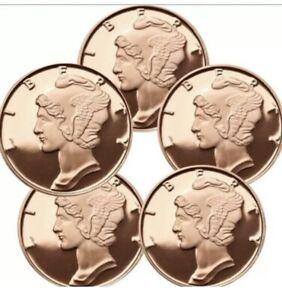 Lot (10) Ten 1/4oz Mercury Dime Obverse Design Copper Bullion Rounds Coins Set