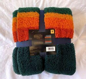 Pendleton Sherpa Fleece Throw Blanket Evergreen Stripe Twin 66in x 92in