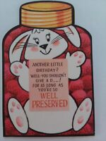 Vtg BIRTHDAY Well PRESERVED Bunny STRAWBERRY JAM Rust Craft GREETING CARD