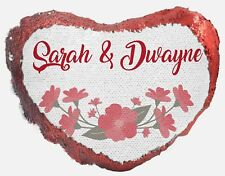 Personalised Floral Wedding Magic Reveal Heart Sequin Cushion Cover Any Name