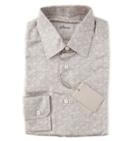 NWT $900 BRIONI Ivory Silk Dress Shirt with Geometric Printed Design XS