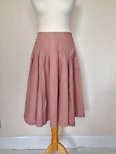 Reiss Womens Pleated Full Skater Skirt-Stripes & Dots - Orange & Grey-Size-S 10