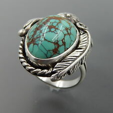 HANDCRAFTED STERLING SILVER AMERICAN TURQUOISE FLOWER FEATHER RING SIZE 7