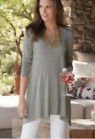 Soft Surroundings Style 24181 Gray Timely Scoop Tunic Top Women's S