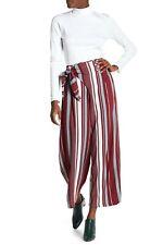 Angie Wrap Waist Pants Women's size M Wine Striped  13833