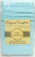 Elegant Comfort 1500 Thread Count Egyptian Ultra Soft Pillowcase Blue King - NEW