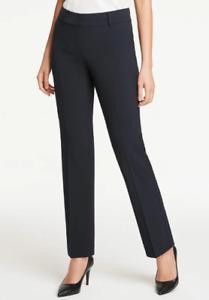 New ANN TAYLOR Straight Pants Curvy Fit Navy Sz 10 $90