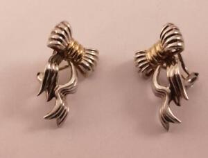 TIFFANY & CO. T&CO 925 SS 14K YELLOW GOLD BOW RIBBON OMEGA BACKS EARRINGS
