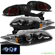 For 95-99 Chevy Cavalier Dual Halo LED Projector Headlights+Smoke Tail Lights