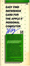 Steve Wozniak SIGNED AUTOGRAPHED Apple II Reference Card Computer Creator