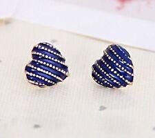 9K Yellow Gold Filled Blue Heart Shape Earrings Stud