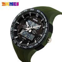 SKMEI Mens Date LED Digital Analog Military Sport Quartz Wrist Watch Rubber Band