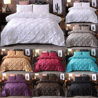 PINTUCK DUVET SET QUILT COVER SINGLE DOUBLE KING QUEEN BEDDING PILLOWCASE SETS