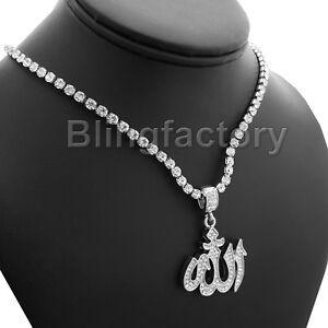 Hip Hop Iced Muslim Allah Pendant & 1 Row Diamond Tennis Choker Chain Necklace