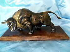 "Large 14""Charging Bull Bronze walnut wood Base Wall Street Statue Figurine"