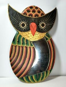 Hand Painted Horned Owl Wooden Wall Mirror