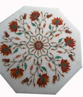"""12"""" Marble corner coffee side Table Top floral precious stone inlaid art Decor"""