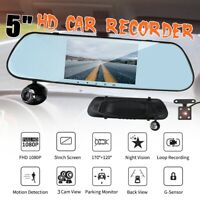 5'' HD 1080P 3 Lens Car DVR Rear View Mirror Camera Dash Cam Recorder G-sensor