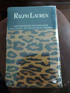 RALPH LAUREN 2 Aragon ~ Standard Pillowcases Leopard Print Set NEW VTG